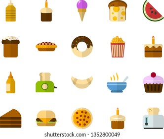 Color Flat Icon Set - easter cupcake flat vector, cake, doughnut, pizza, fruit, croissant, bread and cheese, hamburger, sundae, hot dish, popcorn, mustard, piece of, watermelon, toaster