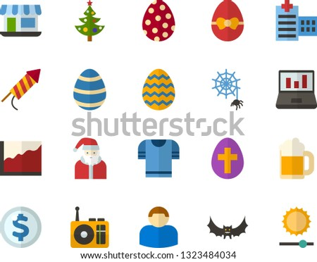 Color Flat Icon Set Easter Egg Stock Vector Royalty Free