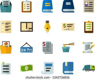 Color Flat Icon Set - elections flat vector, history, textbooks, ink pen, personal profile, book, archive, planning, cash, check, financial report, chinese food, schedule, summary, reference