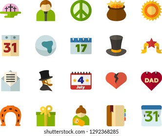 Color Flat Icon Set - equinox flat vector, africa, pacific day of the world, cylinder hat, calendar, leprechauns, horseshoe, veterans, father's, mothers, Abraham Lincoln, July 4th holiday, cemetery