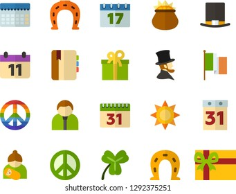 Color Flat Icon Set - equinox flat vector, pacific day of the world, cylinder hat, calendar, Irish Clover, leprechauns, horseshoe, flag, father's, mothers, Abraham Lincoln, diary, present, planning