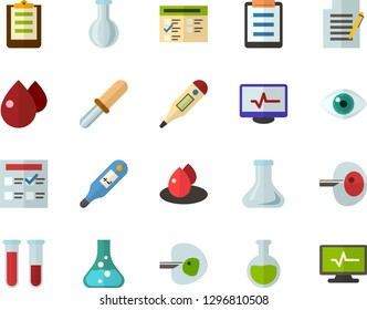 Color Flat Icon Set - exam flat vector, flask, write file, schedule, eye, blood test, digital thermometer, ivf, pipette, drop of, electrocardiogram