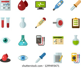 Color Flat Icon Set - exam flat vector, flask, write file, schedule, eye, blood test, digital thermometer, ivf, pipette, drop of, electrocardiogram, multimeter