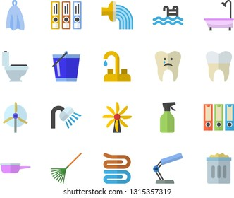 Color flat icon set faucet flat vector, toilet, shower, saute, towel, pulverizer, rake, bucketful, hose irrigation, windmill, caries, dental crowns, reading lamp, folders for papers, pool, trash can