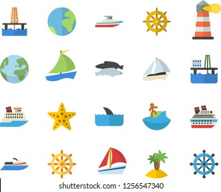 Color flat icon set fish flat vector, oil production platform, lighthouse, sailboat, earth fector, island, surfing, starfish, steering wheel, water scooter, cruise ship, shark, yacht