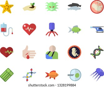 Color flat icon set fish flat vector, seedlings, blood transfusion, virus, injury, helicopter, embryo, artificial insemination, dna, heartbeat, starfish fector, inflatable mattress, jellyfish