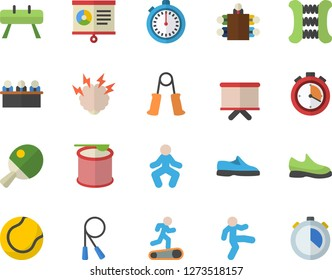 Color flat icon set flipchart flat vector, chart, meeting, brainstorm, sneakers, stopwatch, skipping rope, carpal expander, sports equipment horse, tennis ball, Treadmill, gymnastics, steroids