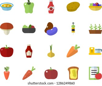 Color flat icon set food processor flat vector, mushroom, potato, tomato, ketchup, legumes, onion, carrot, salad, soup, bell pepper, canape, sandwich, seedlings, diet