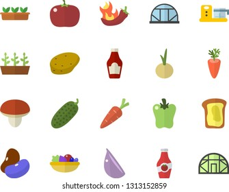 Color flat icon set food processor flat vector, mushroom, potato, ketchup, legumes, salad, carrot, garlic, onion, bell pepper, hot peppers, tomato, cucumber, sandwich, seedlings, greenhouse