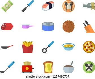 Color flat icon set frying pan flat vector, saute, ladle, kitchen spatula, spoon, knives, toaster, table setting, spaghetti, sausage, canned food, on a fork, pizza, soup, porridge, cutlet, sashimi