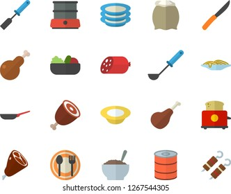 Color flat icon set frying pan flat vector, ladle, kitchen spatula, knives, toaster, double boiler, flour, table setting, plates, ham, sausage, canned food, spaghetti, dish, salad, porridge, chicken