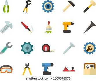Color Flat Icon Set - gear flat vector, settings, hammer, sledgehammer, planer, measuring tape, wrench, tapping screw, pliers, press is, bolt, construction glasses, cordless drill, paint brush