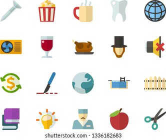Color Flat Icon Set - a glass of red wine flat vector, Abraham Lincoln, textbooks, apple, Earth, mouthpiece, money conversion, chicken, popcorn, hot tea, global, brainstorming, scalpel, doctor, pool