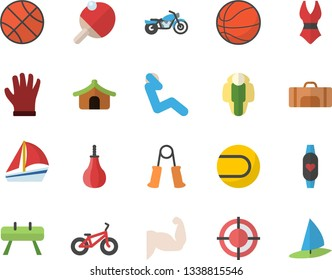 Color flat icon set gloves flat vector, sailboat, target, basketball, muscles, bicycle, carpal expander, sports equipment horse, pear, tennis ball, swimsuit, swing press, fitness bracelet, table