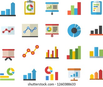 Color flat icon set graphic report flat vector, chart, statistics, scatter, flipchart, statistic, clircle diagram, point, presentaition board, achievement
