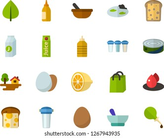 Color Flat Icon Set - green leaf flat vector, product bag, egg, bread and cheese, canned food, mustard, juice, lemon, mortar, drop of blood, forest house, pond, water filter, lubricator