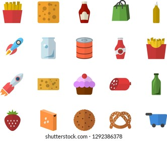 Color flat icon set groats flat vector, ketchup, biscuit, bagel, cake, sausage, cheese, canned food, French fries, Strawberry, mustard, glass bottles, rocket, bags, grocery trolley fector
