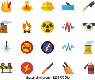 Color flat icon set hard hat flat vector, barrier, knives, fire, bonfire, radiation, laser, nuclear power plant, lightning, electric discharge fector, surveillance camera, no smoking, shark