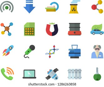 Color flat icon set heating batteries flat vector, double boiler, eco cars, SIM card, rocket, phone call, tomograph, molecules, copy machine, laptop, satellit, nuclear power plant, magnet, scientist