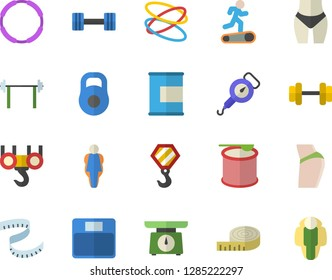 Color flat icon set hook flat vector, weighing machine, spring balance, dumbbell, barbell, weight, centimeter, buttocks, waistline, Treadmill, proteins, steroids, hoop, size, lose