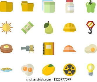Color flat icon set hook flat vector, hard hat, spaghetti, lemon, on a fork, bell pepper, scrambled eggs, pear, pancakes, sun, radiation, computer file, sticker, notebook, vitamins, lamp