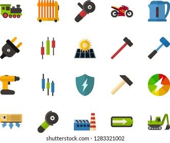 Color Flat Icon Set - japaneese bar flat vector, charging, level of charge, solar panel, factory, electric plug, conditioner, kettle, oil radiator, hammer, sledgehammer, cordless drill, old train