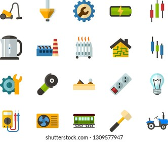 Color Flat Icon Set - japaneese bar flat vector, charge the battery, settings, exhaust fan, smart house, factory, hoover, electric kettle, oil radiator, lamp, extension cable, sledgehammer, planer