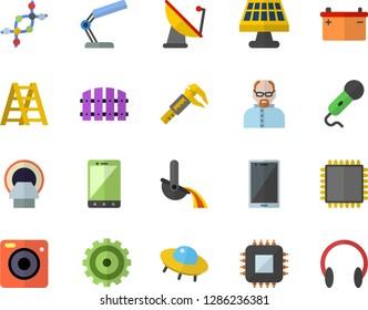Color flat icon set ladder flat vector, fence, solar battery, trammel, accumulator, satellite antenna, motherboard, metallurgy, cogwheel, tomograph, reading lamp, cpu, scientist, ufo, dna, mobile