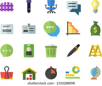 Color flat icon set ladder flat vector, fence, crisis, wealth, statistics, chat, barcode, warehouse, office chair, tie, pen, pass fector, badge, binder clip, trash can, lamp, stopwatch, globe