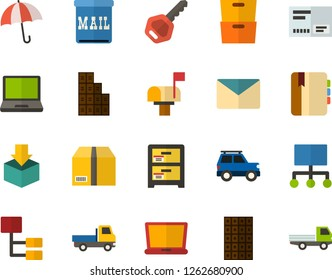 Color Flat Icon Set - laptop flat vector, archive, message, key, diary, umbrella, parcel, wrap up, hierarchy, chocolate bar, envelope, mailbox, car with the trunk, open van