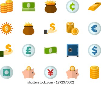 Color Flat Icon Set - leprechauns flat vector, safe, coins, cash, investments, moneybox, gold bars, dollar, cent, euro, yen, pound sterling, generic currency symbol