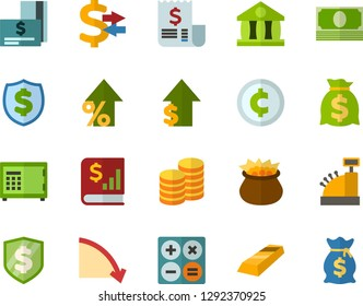 Color Flat Icon Set - leprechauns flat vector, calculator, coins, bank, money conversion, credit card, cash, crisis, dividends, dollar rise, financial report, receipt, finance protect, safe, cent