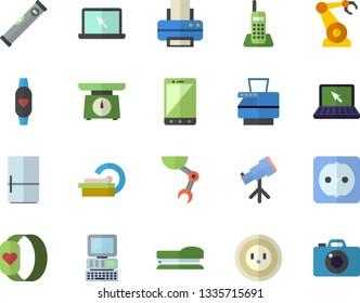 Color flat icon set level meter flat vector, sockets, weighing machine, fridge, socket, robotics, tomograph, telephone, printer, copy, laptop, stapler, robot hand, computer, telescope, mobile