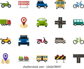 Color Flat Icon Set - location flat vector, car with the trunk, bus, minibus, lorry, freight train carrier, machine front view, bicycle, scooter, quad bike, road barrier, crossroad
