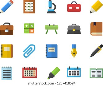 Color flat icon set marker flat vector, calendar, calculator, briefcase, notebook, clip, abacus, ink pen, pencil, microscope, notepad, textbook, sports equipment horse, book