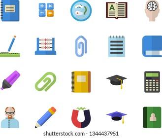 Color flat icon set measure flat vector, marker, calculator, notebook, abacus, book, notepad, pencil, bachelor cap, magnet, scientist, Petri dish, brain fector, clip