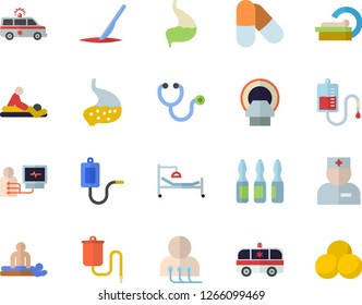 Color flat icon set medical warmer flat vector, blood transfusion, physician, stethoscope, hospital bed, massage, ambulance, diagnostics, ampoule, tomograph, scalpel, stomach, pills