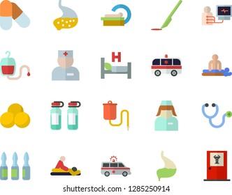 Color flat icon set medical warmer flat vector, blood transfusion, physician, stethoscope, hospital bed, massage, ambulance, diagnostics, ampoule, tomograph, nurse, scalpel, stomach, pills