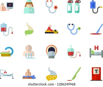 Color flat icon set medical warmer flat vector, blood transfusion, stethoscope, hospital bed, massage, diagnostics, ampoule, tomograph, nurse, scalpel, stomach, doctor's office fector