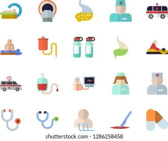 Color flat icon set medical warmer flat vector, blood transfusion, physician, stethoscope, massage, ambulance, diagnostics, ampoule, tomograph, nurse, scalpel, stomach, pills