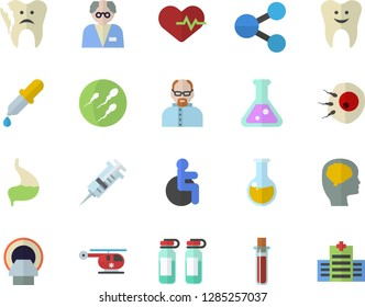 Color flat icon set molecules flat vector, pipette, blood test, syringe, disabled, medical analysis, ampoule, helicopter, tomograph, sperm, artificial insemination, tooth, broken, stomach, flask