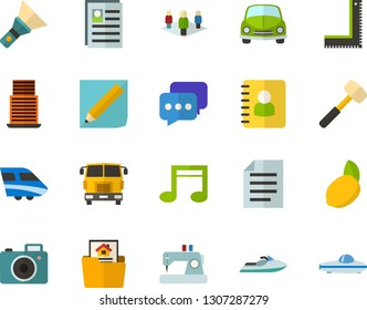 Color Flat Icon Set - note flat vector, document, personal profile, car, notebook, employees, lemon, chat, flashlight, notepad, mortgage, skyscraper, photo camera, sewing machine, sledgehammer