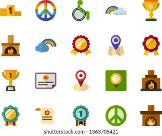 Color Flat Icon Set - pacific day of the world flat vector, rainbow, winner's cup, medal, charter, location, pedestal, places for people with disabilities, fireplace