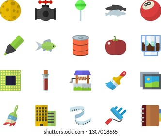 Color flat icon set paint brush flat vector, roller, skyscraper, canned food, lollipop, tomato, fish, whiskey, well, main pipeline, marker, blood test, moon, cpu, bowling ball, centimeter, gallery