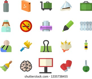 Color flat icon set paint brush flat vector, roller, heating batteries, groats, canape, billboard, marker, injury, nurse, printer, brainstorm, brain, sports pear, boxing gloves, sailboat fector, key