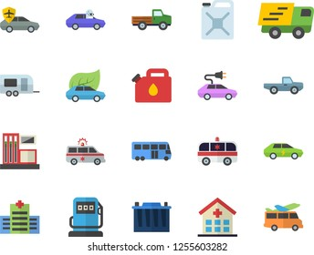 Color flat icon set pickup truck flat vector, gas station, refueling, accumulator, canister, eco cars, electric, autopilot, trucking, hospital, ambulance, trailer fector, bus, transfer