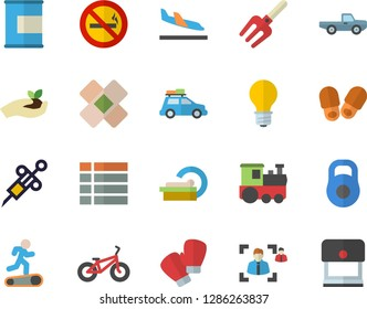 Color flat icon set pickup truck flat vector, pitchfork, seedlings, lamp, syringe, patch, tomograph, recruitment, weight, bicycle, boxing gloves, Treadmill, proteins, train fector, car, arrival