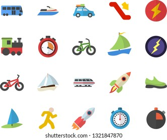 Color flat icon set rocket flat vector, sailboat, lightning, sneakers, bicycle, stopwatch, run, train fector, car, bus, escalator, water scooter, windsurfing