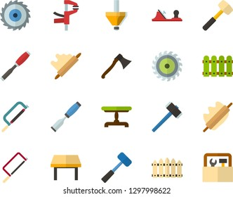 Color Flat Icon Set - rolling pin flat vector, fence, vintage table, axe, hammer, hacksaw for metal, sledgehammer, chisel, planer, clamp, milling cutter, wood, toolbox