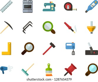 Color Flat Icon Set - ruler corner flat vector, magnifier, pushpin, digital thermometer, mixer, electric cooker, hoover, sewing machine, hammer, pick, measuring tape, construction staples, rake